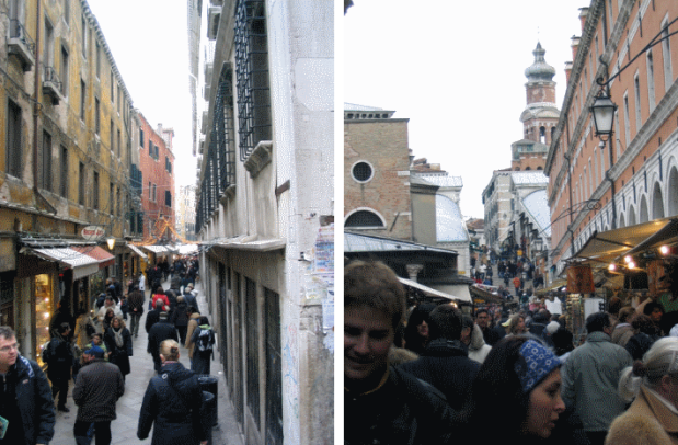 A part of the itinerary between the rail station and Saint Mark square