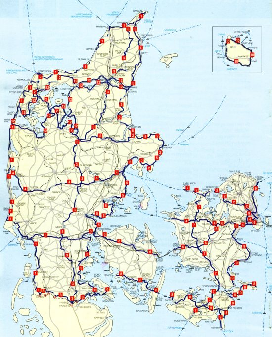 The national biking routes of Denmark