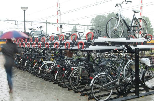 A bike parking at Alkmaar rail station, by dutch urban furniture maker VelopA