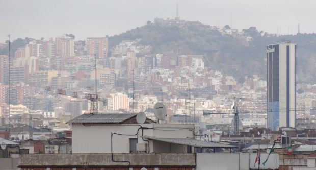 Sierra de Collserolla as seen from the Sants Station area in Barcelona