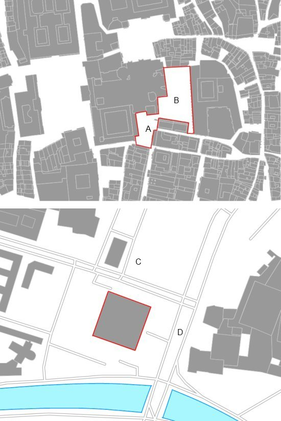 Two euro- acres: upper image, Plaza de Platerías (A) and Plaza de la Quintana (B), lower image the New national Gallery in Berlin, close to the Sankt Matthaus church (C) and by the Postdamer Strasse (D)