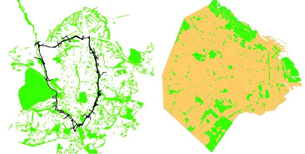 Public green spaces as defined in urban planning documents in Madrid (left, M30 in black) and Buenos Aires (right)