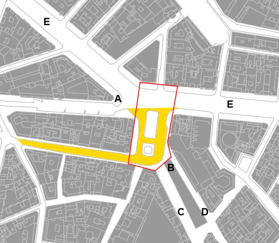 Callao Square and the adjacent Gran Via area measure a bit less than 5.000 sq m (over an acre, less than an hectare).