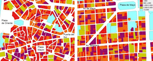 Surface in sq m of the parcels in the historical core of Madrid (left) and in the San Telmo area in Buenos Aires