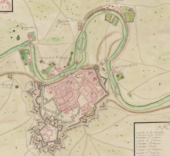 Pamplona in XVIIth century. The map can be consulted on gallica.bnf.fr, signature GED-4683
