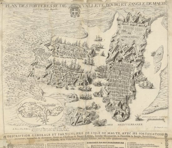 Plan des Forteresse de Vallete, bourg et sangle de Malte... H Boulange fe. 1645. An engraving representing the city in the XVIIth century, that can be found on gallica.bnf.fr with the signature GE C2362