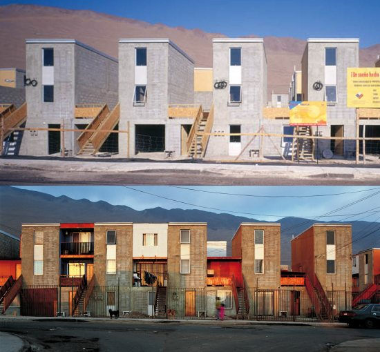 "A project by Elemental in Chile. On the upper image, the housing units as delivered to dwellers; for each ""L"" there is a ground floor home and a two storey home on top. The lower image shows the buildings after some time."