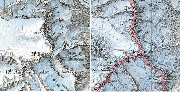 Mont Dolent, the triple border point between Switzerland, Italy and France, in 1938 (left) and today. Glaciers seem to be going...