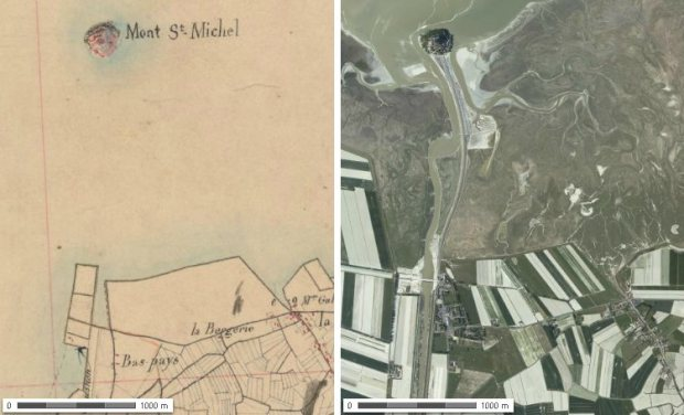 Mont-Saint-Michel during the middle XIXth century and today. Both images are  taken from geoportail.fr