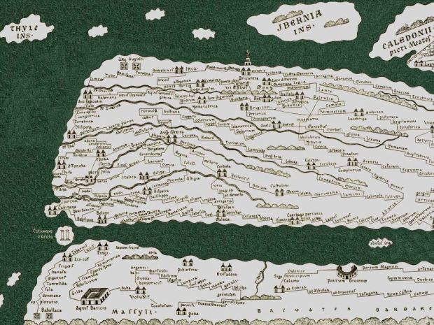The reconstruction of the lost Iberian part of the map. You can see Gibraltar (columne ercole), Lisbon (Olisipona) and my home region around Brigantia
