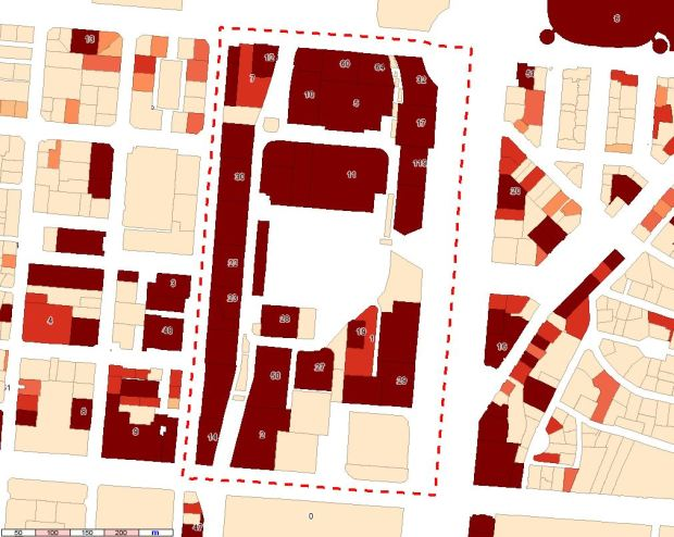 Gradient of office floor area and, for some lots, number of cadastral spaces registered as offices, by lot