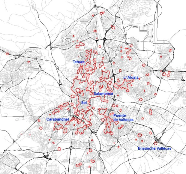 Areas with the highest commercial densities (cadastral built up areas of that use)
