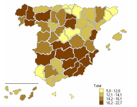 Percentage of vacant housing units in Spain in 2011, by province