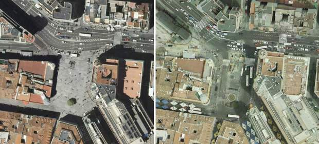 Callao in 2009 (left) and in 2006 (right). One of the busiest walkways in Madrid becomes a grand pedestrian esplanade