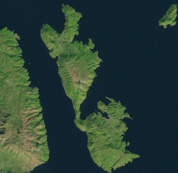 Ithaca nowadays, in a Landsat Image. You can see it in http://landsatlook.usgs.gov/ , northeast from Kefalonia, south of Corfu (a direct link would be against the spirit of the book). And I'm not sure google maps would be better...