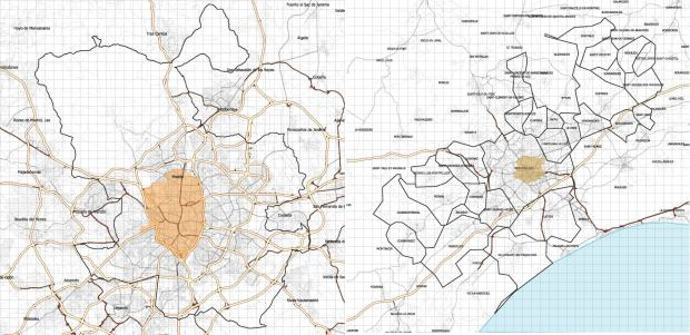 Madrid (municipality) and Montpellier (metro municipalities) at the same scale (1km grid). The core cities subject to specific programs are highlited.