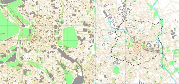 Same scale (1 km grid) maps of central Madrid and central Montpellier (Grand Coeur)