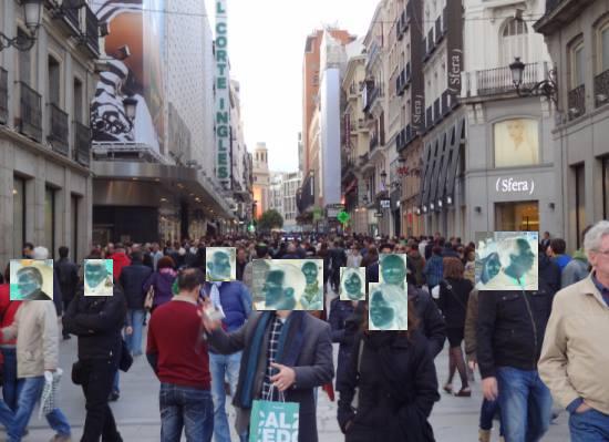 Pedestrians in calle Preciados, Madrid.