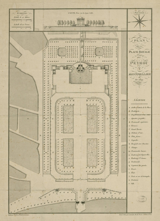 Plan de la Place Royale du Peyrou-1819- Fovis+Boué. You can find this map in www.gallica.fr
