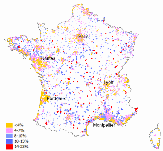 Percentage of vacant housing units over the whole residential stock in French municipalities with population over 2.000 (2009)