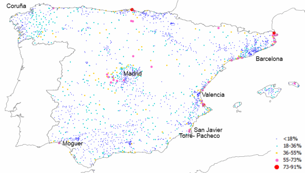Seasonal housing ratio in Spanish municipalities with population over 2.000 in 2011
