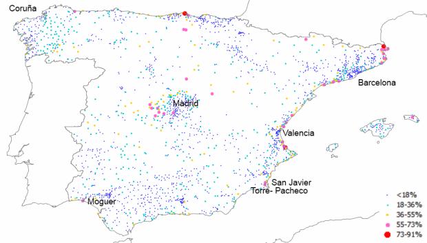 Seasonal housing ratio in Spanish municipalities with population over 2.000 in 2011