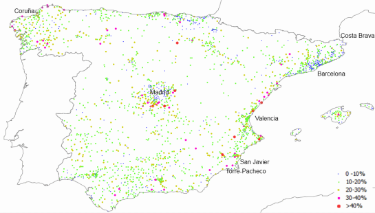 Percentage of vacant housing units over the whole residential stock in Spanish municipalities with population over 2.000 (2011)