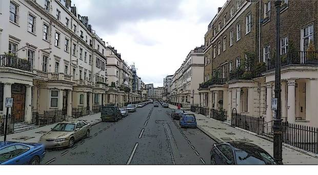 Eaton Place, 25 m of street between main façades