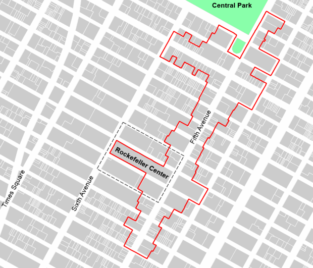 Fifth avenue BID: 1,2 km of central street. The red outline is that of the BID.