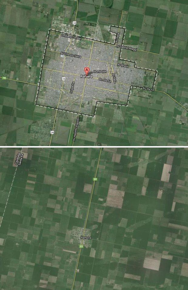Rafaela and Ramona at the same scale. Attention, Ramona is located northwest from Rafaela