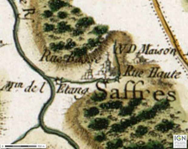 Saffres on the Carte de Cassini (XVIIIth century). Altough no accurate rendering of elevations was at hand, the map is quite expressive of the hills