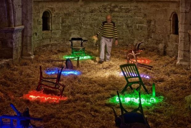 An art installation at the chappel in 2010, by Carlos León