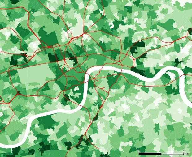 Level 4 or above in central London, with a rather scattered pattern. Whitehall and Belgravia have high numbers, but also some areas south of the Thames