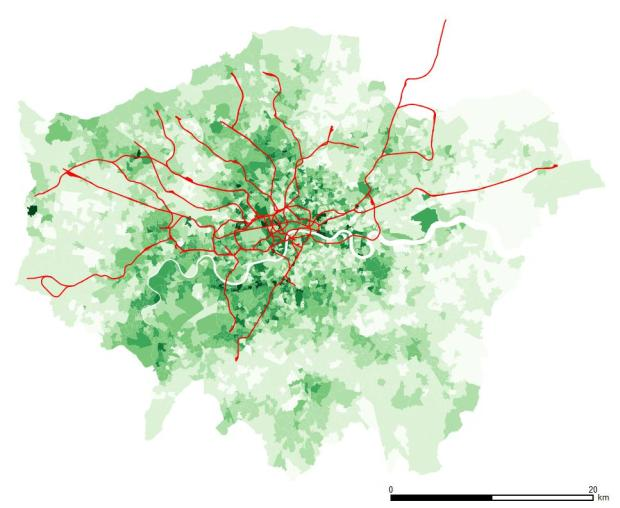 Level 4 or above in London. Central and southwest areas show higher figures.