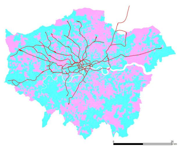 Professionals. Blue areas have more men than women, pink ones more women