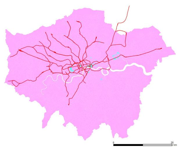 Secretarial ocupation. Blue areas have more men in the job, pink ones more women