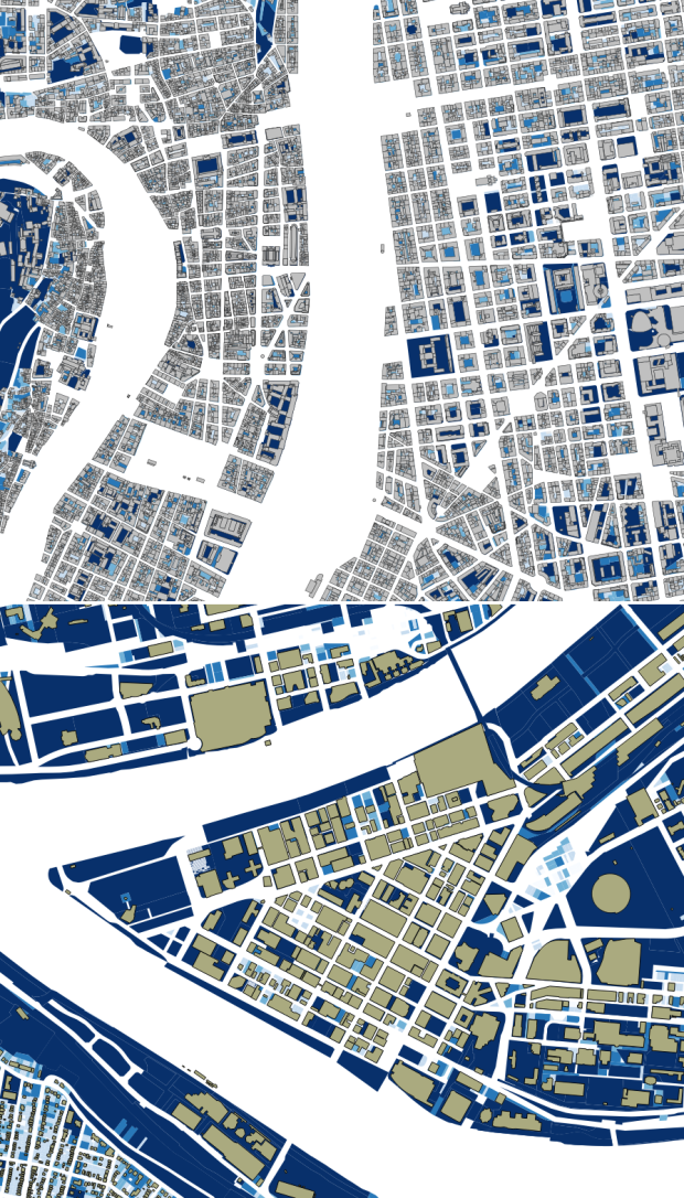 Building footprints on the urban cores of Lyon and Pittsburgh