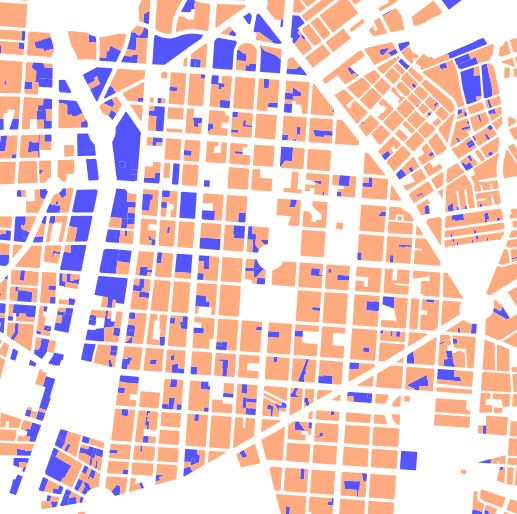 Main uses by lot: economic activity (blue) and housing (orange)