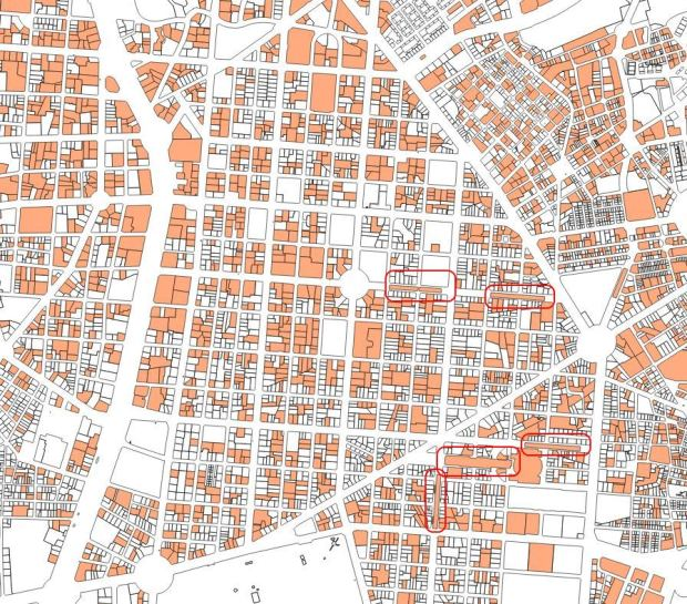 Lots with parking space, according to cadastral data