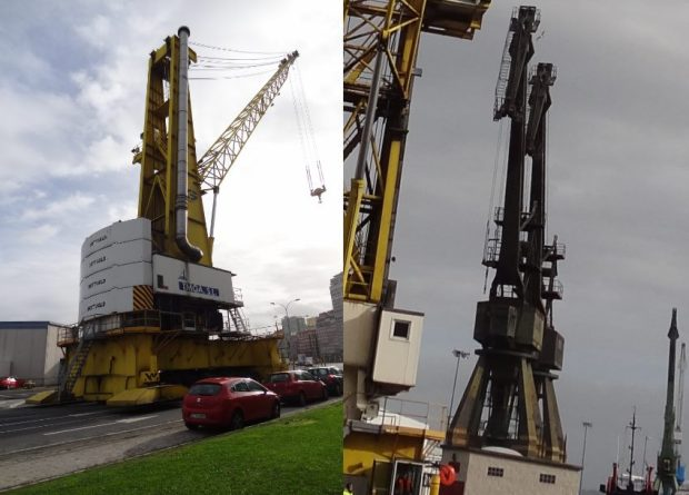 The new crane (left) and the former, still in use model