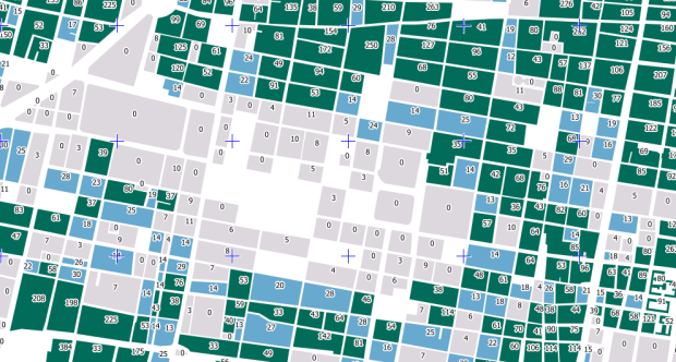 Population up to 14 by block