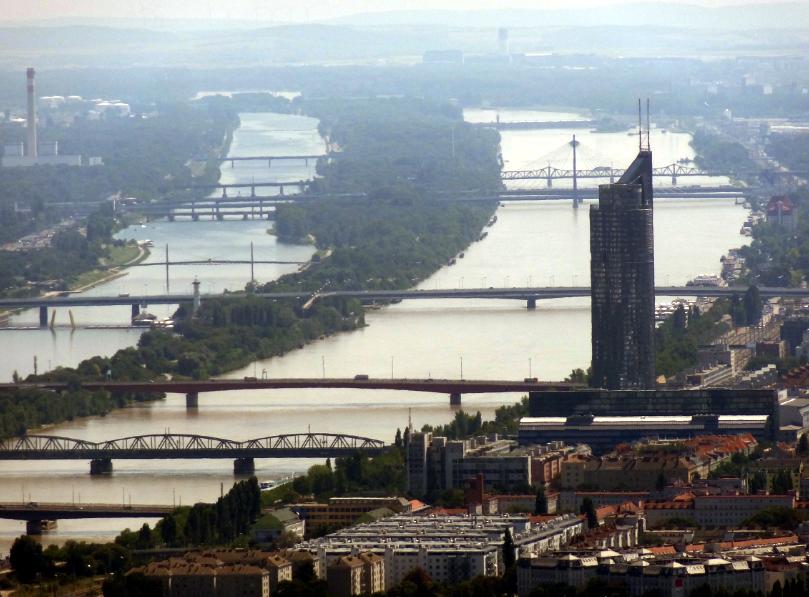 The Danube near Vienna, as seen from Khalenberg Hill
