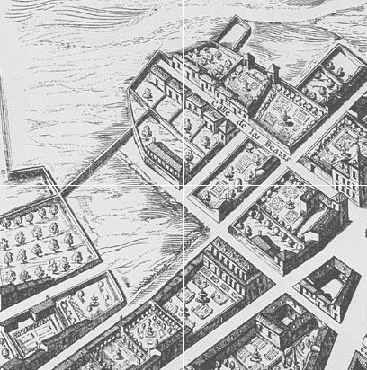 A part of the Texeira Map (1656) in Madrid, in what now is a much denser area.